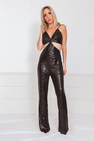 Sequin Jumpsuit with Contrast Mesh Cutout