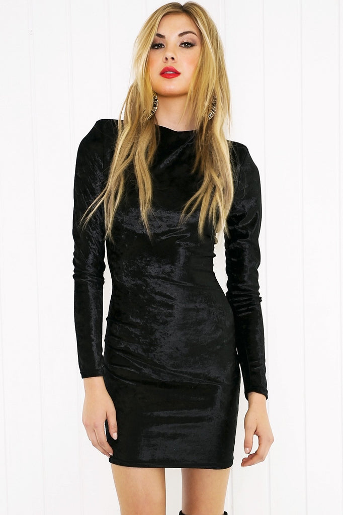 Nidia Velvet Long Sleeve Dress