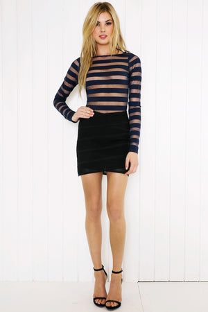Nesiah Striped Mesh Bodysuit - Navy - Haute & Rebellious