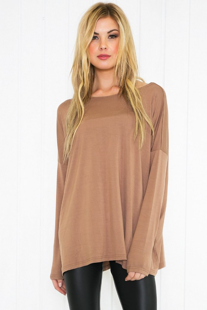 Suzanna Long Sleeve Top - Mocha - Haute & Rebellious