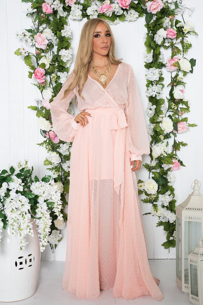 Carmin Long Sleeve Sheer Maxi Dress