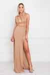 High-Slit Maxi Dress with Cutout Detail - Taupe