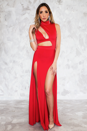 Maxi Dress with High Slits & Cutouts - Red