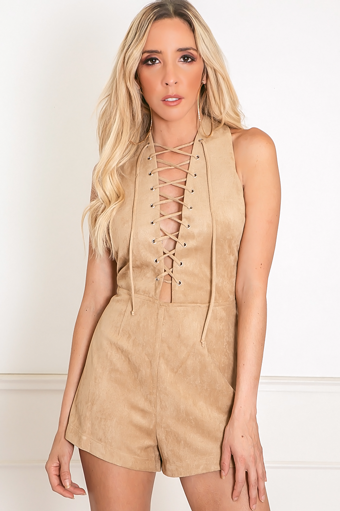 Lace-Up Suede Romper - Tan