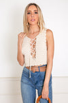 Lace-Up Crochet Crop Top - Cream