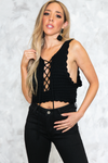 Lace-Up Knit Crop Top - Black - Haute & Rebellious