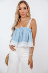 Chambray Tube Top with Lace Trim
