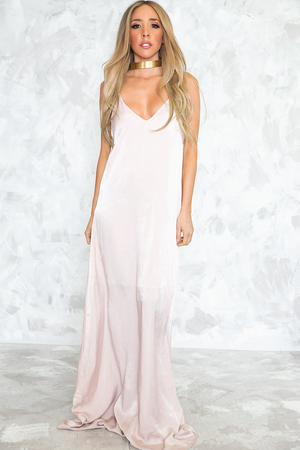 Satin Slip Maxi Dress - Soft Blush - Haute & Rebellious
