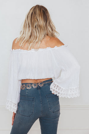 Bell Sleeve Off-Shoulder Crochet Detail Top