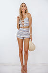 Striped Linen High-Waisted Shorts with Rope Detail /// Only 1-L Left ///