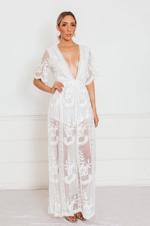 Embroidery Lace Maxi Dress with Deep-V - White