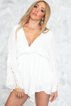 Bell Sleeve Crochet Trim Romper /// ONLY 1-M LEFT/// - Haute & Rebellious