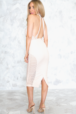 Mesh Contrast Body-Con Midi Dress /// ONLY 1-M LEFT/// - Haute & Rebellious