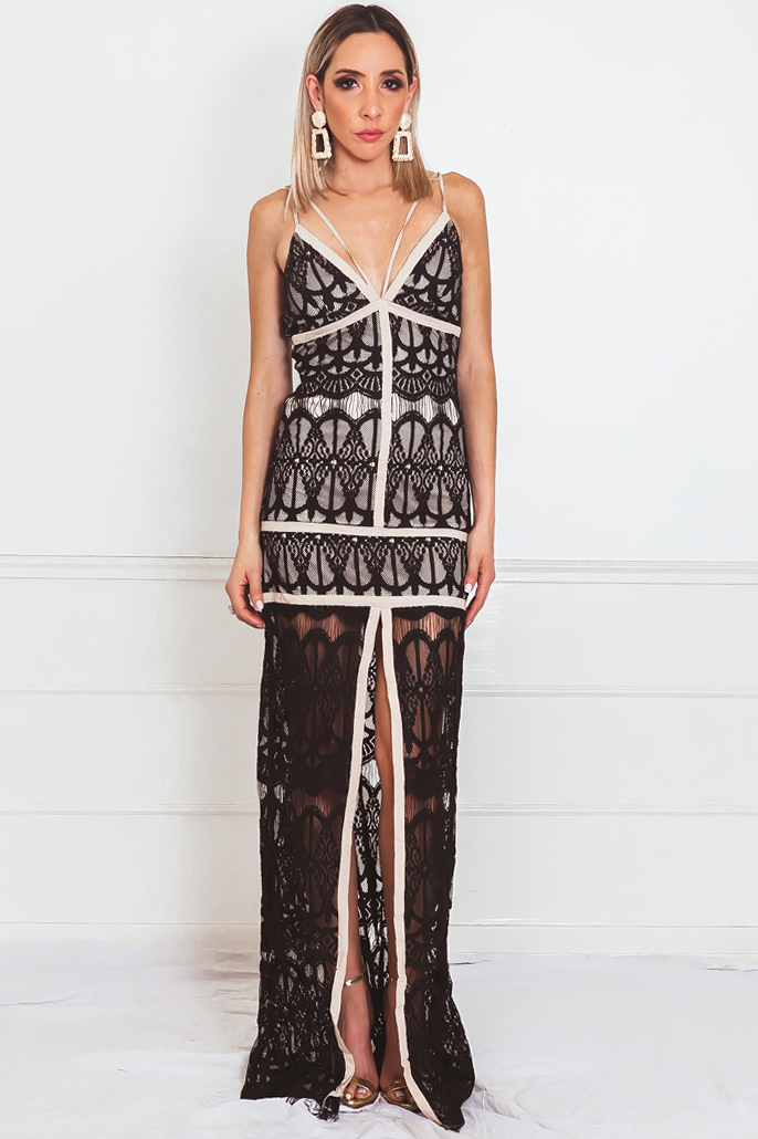 Lace Maxi Dress with Nude Contrast