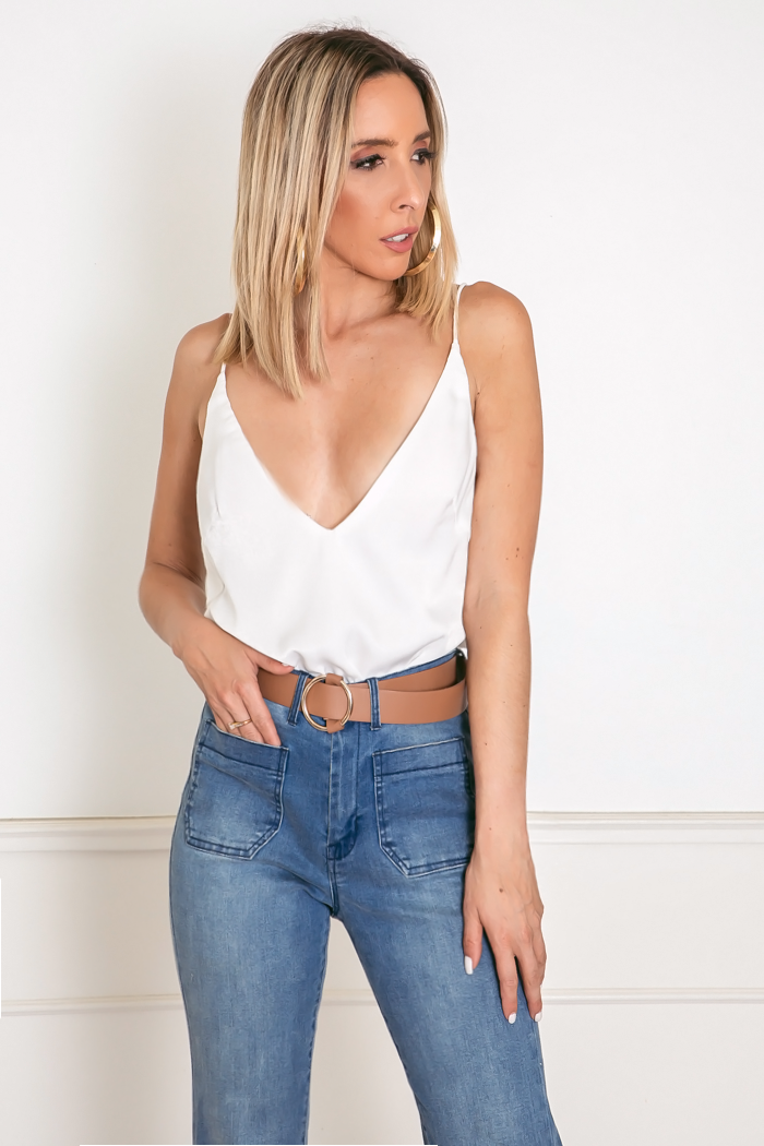 Emma Satin Cami Top - White