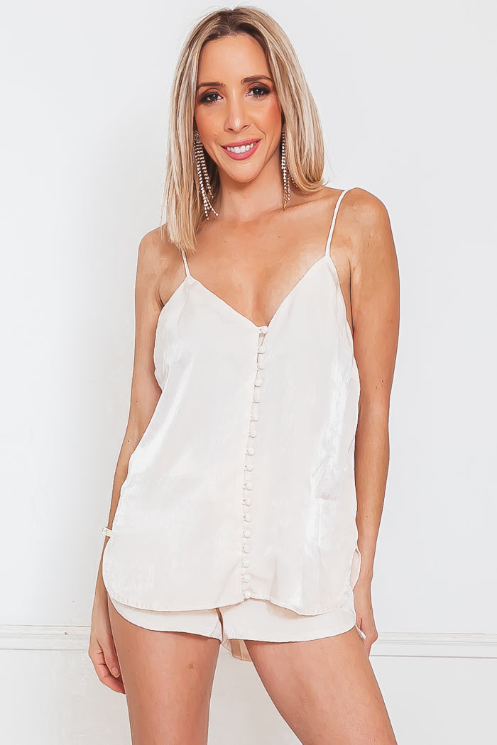 Satin Button-Up Cami Top - Light Nude