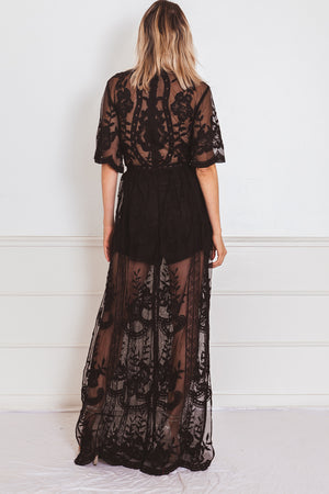 Embroidery Lace Maxi Dress with Deep-V - Black