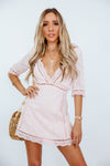 Embroidery Eyelet Deep-V Mini Dress