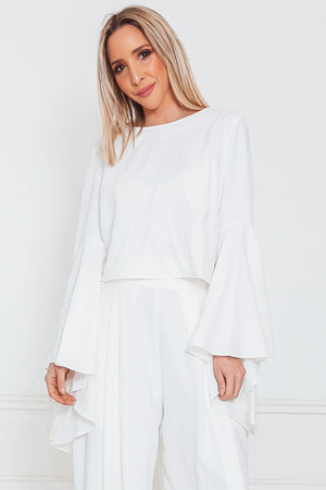 Sophisticated Bell-Sleeve Top - White