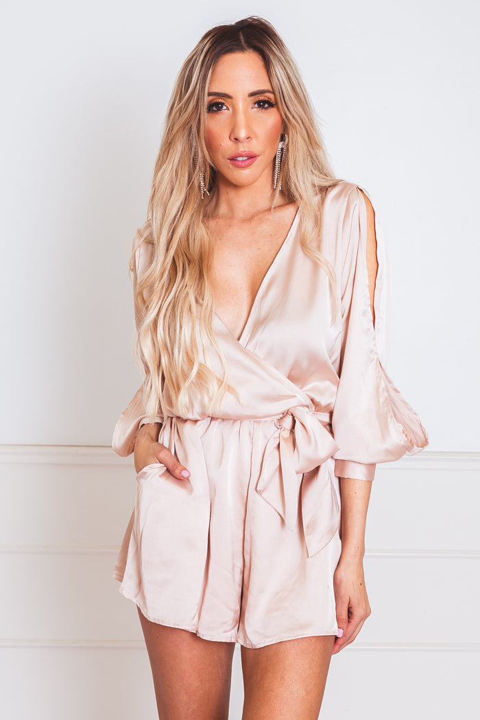 Tie-Up Satin Romper with Slit Sleeves