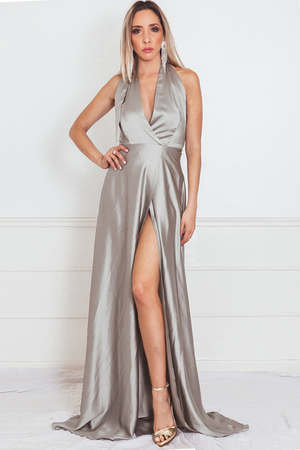 Satin Wrap Maxi Dress with Slit