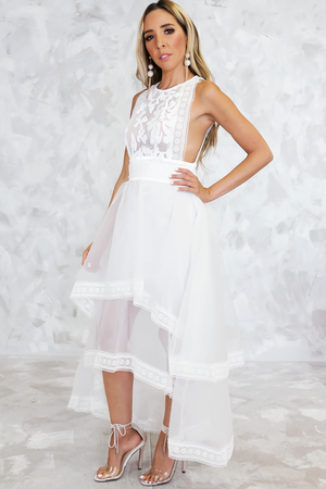 Lani Lace High-Low Maxi Dress - Haute & Rebellious
