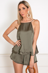 Satin Sleeveless Top and Ruffle Short Set