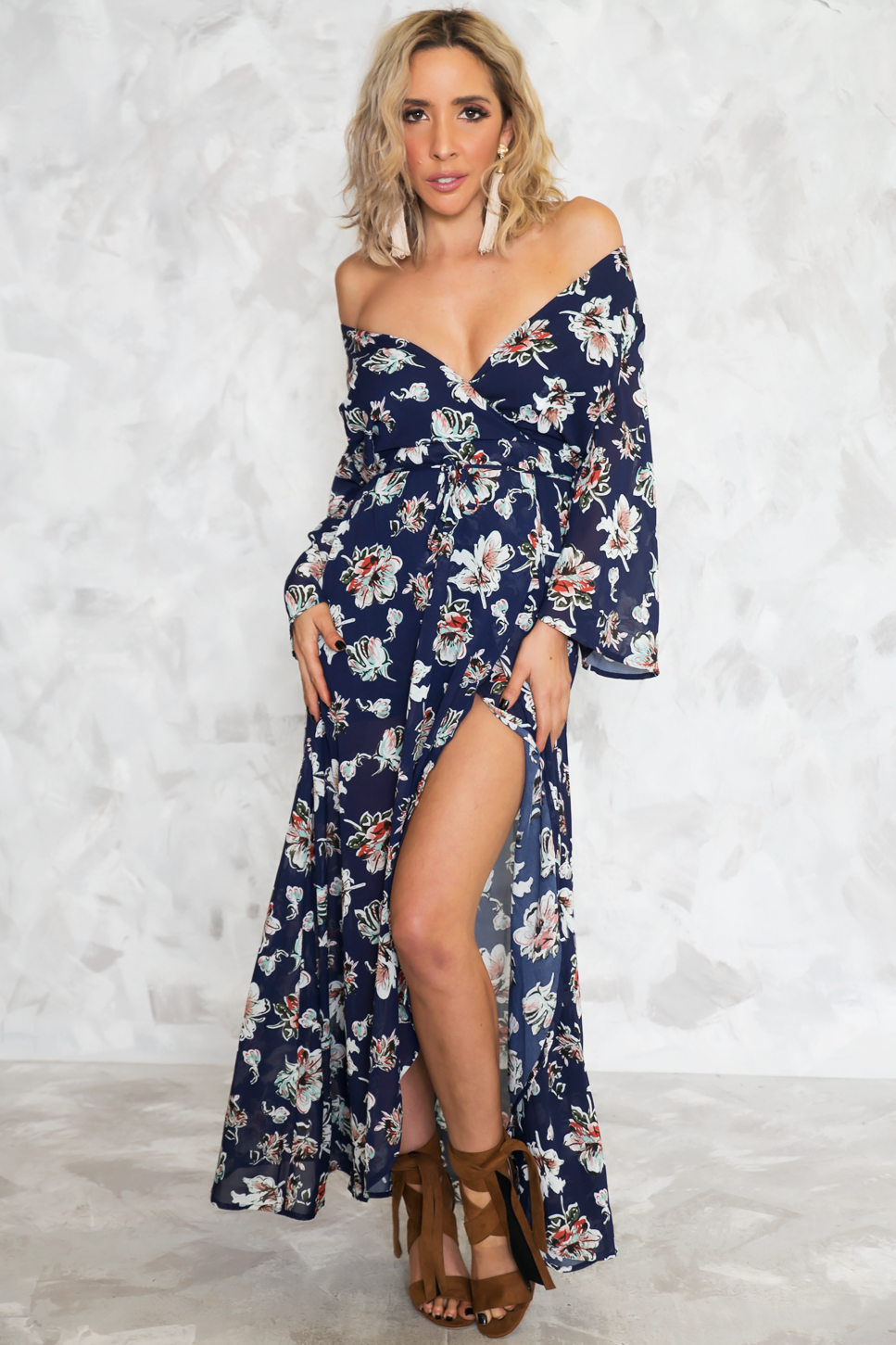 Floral Wrap Maxi Dress - Haute & Rebellious