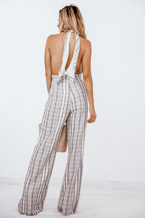 Halter Palazzo Jumpsuit with Tie Detail