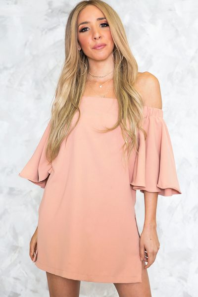 Off Shoulder Slit Sides Tunic - Blush