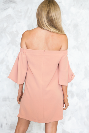 Off Shoulder Slit Sides Tunic - Blush - Haute & Rebellious