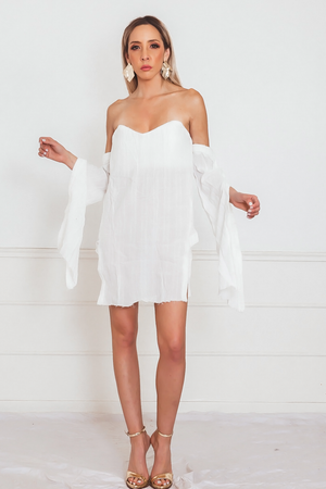 Off-the-Shoulder Linen Tunic with Slit Sleeve