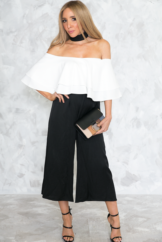 Celia Ruffle Off-Shoulder Top - White