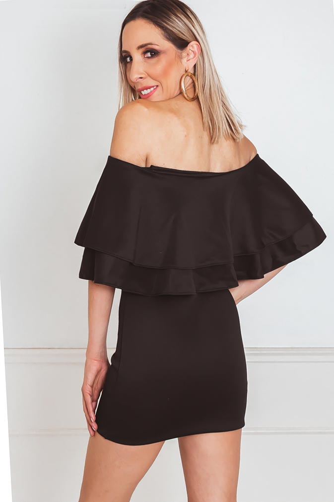 Off-Shoulder Layered Ruffle Mini Dress
