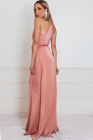 Satin Wrap Maxi Dress with Slit - Blush