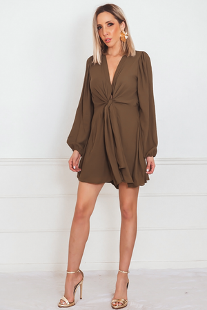 Wrap-Tie Romper with Long Sleeves