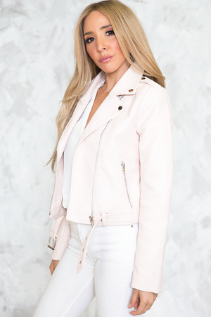 Vegan Leather Moto Jacket - Blush