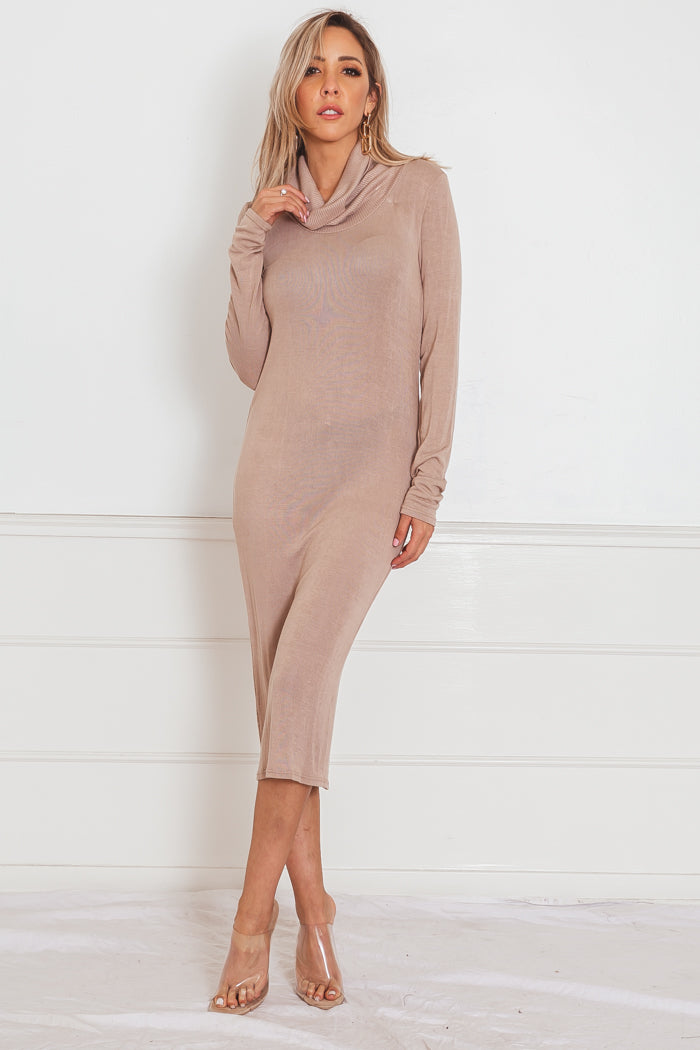 Knit Midi Dress - Nude