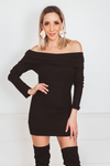 Off-Shoulder Mini Dress with Overlap - Black