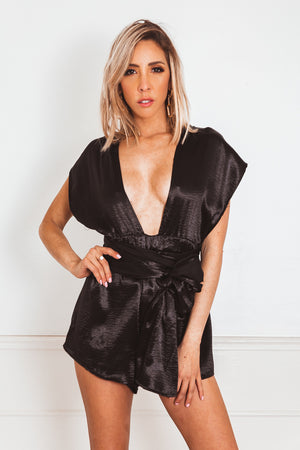 Multiway Satin Romper - Black