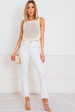 Flare Crop Denim Pant - White