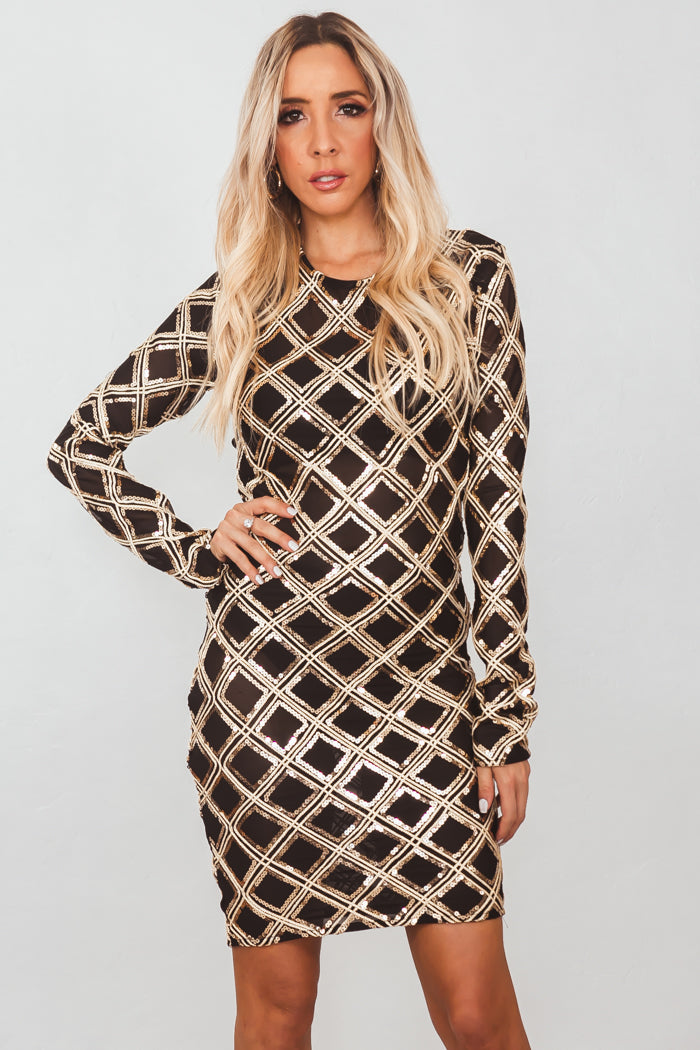 Cross My Mind Gold Sequin Dress