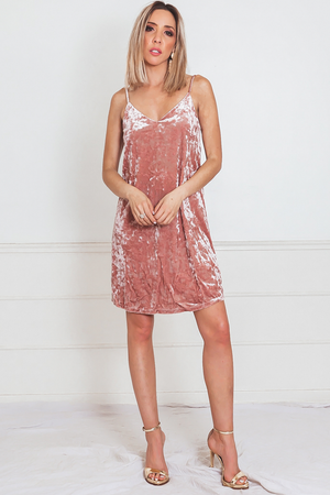 Slip Crushed Velvet Mini Dress - Blush