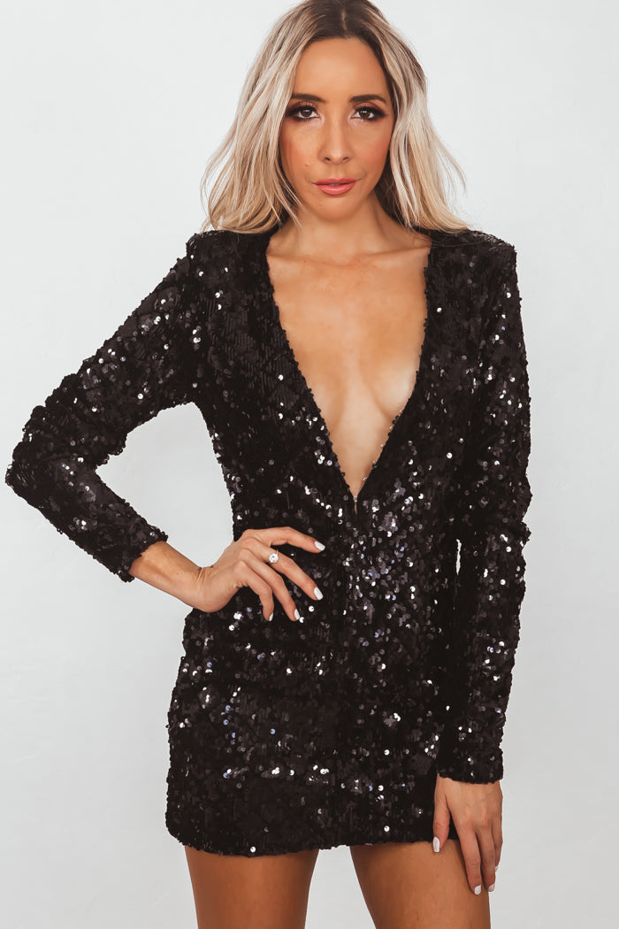 f0a9518c8c Deep-V Long Sleeve Sequin Mini Dress - Black