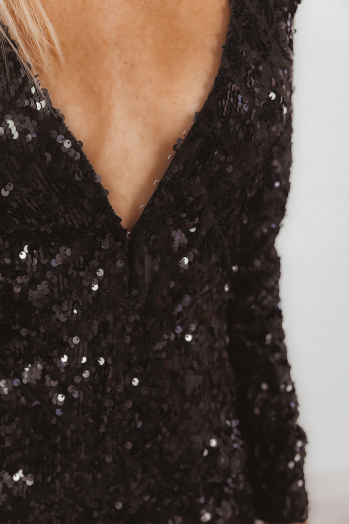 Deep-V Long Sleeve Sequin Mini Dress - Black