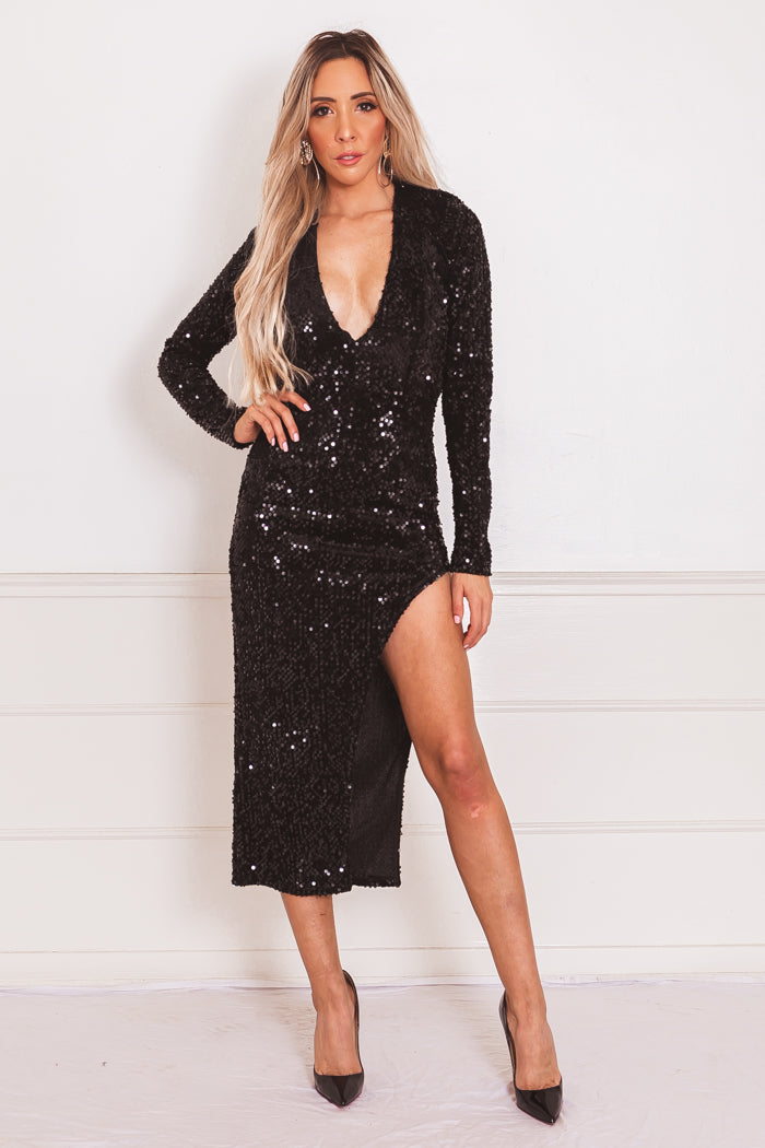Sequin Asymmetric Midi Dress - Black