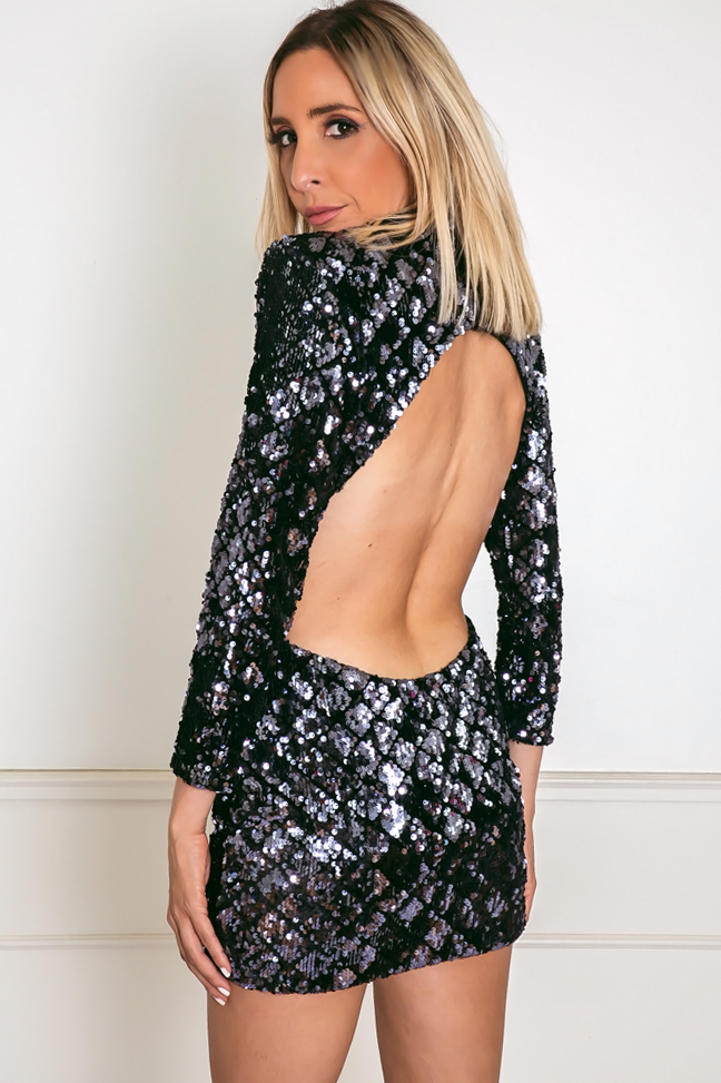 Open-Back Sequin Mini Dress - Dark Navy
