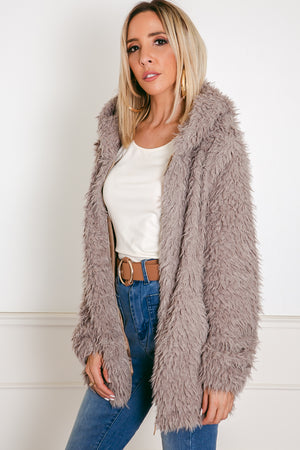 Terry Fur Jacket - Taupe