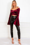 Bell-Sleeve Velvet Top