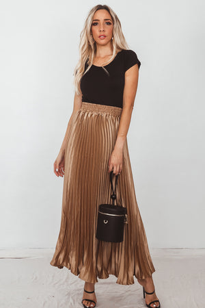 Metallic Pleated Maxi Skirt - Gold